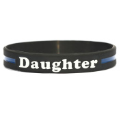 Daughter Thin Blue Line Silicone Wristband Bracelets Police Officers Patrol Awareness Support