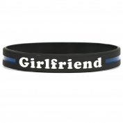 Girlfriend Thin Blue Line Silicone Wristband Bracelets Police Officers Patrol Awareness Support