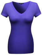 MBE Women's Basic Solid Vneck Various Colour Short Sleeve