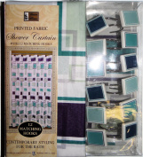 Burgundy, Green Abstract Squares Design Bathroom Set - Shower Curtain and Resin Hooks Set