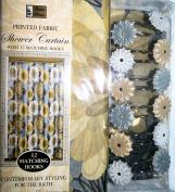 Gold Grey Floral Design Bathroom Set - Shower Curtain and Resin Hooks Set