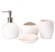 ICEGREY 4 Pc Pottery Bath Accessory Set Tumbler, Toothbrush Holder, Soap Dish,Soap Dispenser