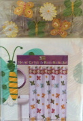 Butterfly and Flower Design Bathroom Set - Shower Curtain and Resin Hooks Set