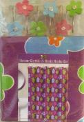 Purple with Flower Design Bathroom Set - Shower Curtain and Resin Hooks Set