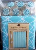 Teal Blue Design Bathroom Set - Shower Curtain and Resin Hooks Set