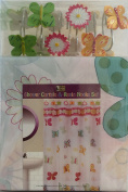 Butterflies and Flowers- Bathroom Set - Shower Curtain and Resin Hooks Set
