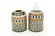 Polish Pottery Herb Garden Soap Dispenser & Toothbrush Holder