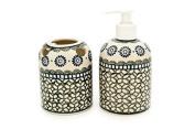 Polish Pottery Maia Soap Dispenser & Toothbrush Holder