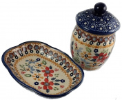 Polish Pottery Bath or Vanity Set in the Christmas Posies Pattern - Soap Dish and Lidded Container
