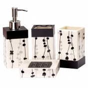 ICEGREY 4 Piece Ceramic Bathroom Accessory Set Tumbler, Toothbrush Holder, Soap Dish,Soap Dispenser
