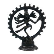 Black Lord Shiva Statuette - 10cm Brass Statue of Shiva Nataraj