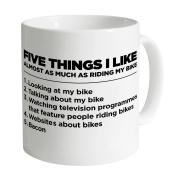 """Five Things I Like As Much As Riding My Bike "" 330ml White Ceramic Mug - Perfect secret Santa, Christmas Gift, Birthday Gift, Stocking Filler for cyclists - Cyclist Mug"