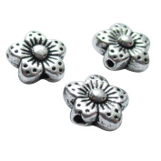 Heather's cf 90 Pieces Silver Tone Flower Flat Beads Findings Jewellery Making 8mm