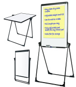 MasterVision Easy Clean Dry Erase Footbar Folds-to-a-Table Presentation Easel, Black