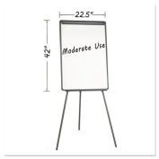 MasterVision Silver Easy Clean Dry Erase Tripod Presentation Easel with Extension Bars, Black