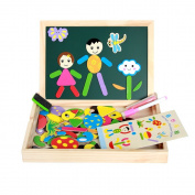 Wooden Magnetic Puzzle Board with Gift Box,Wholethings Fantastic Learning Wooden Double Sided Drawing Board and Magnetic Easel Jigsaw Puzzle Board Fit Over 3-Year-Old