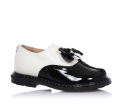 TWIN-SET - White and black leather shoe, whose design is typical of high-quality Made in Italy, with decorative bow on the front side, Child, Girl, Girls