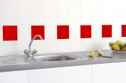 50 x RED GLOSS TILE STICKERS (150mm x 150mm) TO FIT 6 INCH KITCHEN / BATHROOM TILES - GREENSTAR GRAPHICS ®