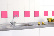 50 x PINK GLOSS TILE STICKERS (150mm x 150mm) TO FIT 6 INCH KITCHEN / BATHROOM TILES - GREENSTAR GRAPHICS ®