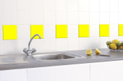 50 x YELLOW GLOSS TILE STICKERS (150mm x 150mm) TO FIT 6 INCH KITCHEN / BATHROOM TILES - GREENSTAR GRAPHICS ®
