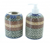 Polish Pottery Athena Soap Dispenser & Toothbrush Holder