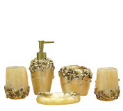 VIC-Decor,Bath Vanity Accessories Set 5 Piece Resin, Soap Dispenser, Toothrush Holder, Soap Dish, Toothrush Cup Sets Good Present For Wedding£¬Lovers£¬Friends : Brown Rose