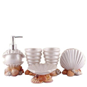 VIC-Decor,Bath Vanity Accessories Set -5 Piece Resin, Soap Dispenser, Toothrush Holder, Soap Dish, Toothrush Cup Sets Good Present For Wedding£¬Lovers£¬Friends : White Shell