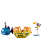 VIC-Decor,Country Style Resin 5PC Bathroom Accessories Set Soap Dispenser/Toothbrush Holder/Tumbler/Soap Dish : Colourful Fish