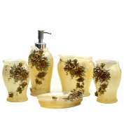 VIC-Decor,Country Style Resin 5PC Bathroom Accessories Set Soap Dispenser/Toothbrush Holder/Tumbler/Soap Dish : 3D Rose