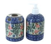 Polish Pottery Irena Soap Dispenser & Toothbrush Holder