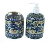 Polish Pottery Lidia Soap Dispenser & Toothbrush Holder