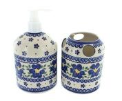 Polish Pottery Spring Blossom Soap Dispenser & Toothbrush Holder