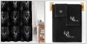 Licenced Bone Collector Black & White Shower Curtain & Towel Set Bathroom Gift Set