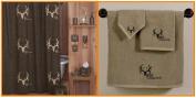 Licenced Bone Collector Brown Shower Curtain & Tan Towel Set Bathroom Gift Set