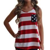 Kemilove Sexy Women Backless Sleeveless Bow Stripe Dot Vest Shirt Tank Tops
