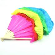 TOOGOO(R) Hand Made Colourful Belly Dance Dancing Silk Bamboo Long Fans Veils For Folk Dance 1.8m