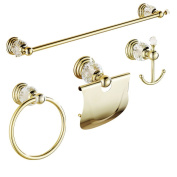 AUSWIND 4 Pieces Gold Polished Bathroom Accessories Sets Brass & Crystal Wall Mounted Bathroom Hardware Set