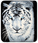 Luxury Large Super Soft Animal Print Mink Faux Fur Blanket Bed Sofa Throw (Choice of Tiger, Panther or Wolf) By CosySleep® Double, White Tiger