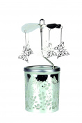 """Kerzenfarm """"Butterfly"""" Rotary Carousel for Tealights, Metal and Glass, Silver, 16.5 cm High"""