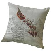 Pillowcase,Clode® 45cm*45cm Christmas Elk Printing Dyeing Pillow Case Cushion Cover Sofa Bed Home Decoration Festival Pillowcase Zipper Closure