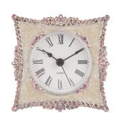 NIKKY HOME Pewter Elegant and Cute Quartz Analogue Table Clock with Crystal Rosy Rhinestone for Home Decor, White and Pink