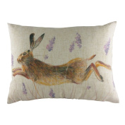 Evans Lichfield 43cm x 33cm Wrap Leaping Hare Filled Cushion DP327 Made In Great Britain