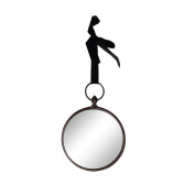 """NIKKY HOME Wall Hanging Mirror Decoration Art Vintage Style Antique Metal Gift 8 """" / 20.5cm Round in Matt Black"""