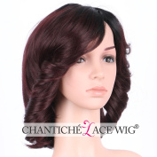 Chantiche Fashion Ombre Burgundy Short Bob Wavy Non Lace Synthetic Wigs for Women Realistic Looking Replacement Ladies Wig Heat Friendly for Cosplay