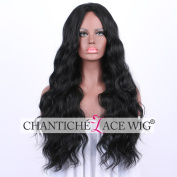 Chantiche Black Long Wavy Synthetic Hair Wigs for Black Women Cheap and Realistic Looking Full Machine Made Non Lace Wig with Middle Parting for Ladies 60cm