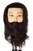 Pretty In a Minute 100% Real Human Hair Mannequin, Manikin Thomas with 25cm Beard, Black