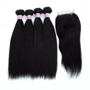 """Brazilian Straight Hair 4 Bundles With a Free Part Lace Closure 100% Unprocessed Human Hair Bundles Natural Colour,14""""16""""18""""20""""with 14"""""""