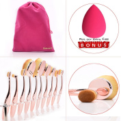 Dolovemk Pro Beauty Makeup Oval Mirror Brushes, Toothbrush Shaped, Eyebrow/Foundation/Powder/BB Cream Brushes Set + Sponge Blender + Pouch Bag