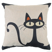 MSY Retro Cotton Linen Square Throw Pillow Case Decorative Cushion Cover Pillowcase 18*46cm (Cartoon Black Cat) by MSY