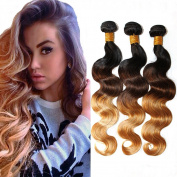 Fashion A Plus (TM) Brazilian Body Wave Natural Human Hair Extensions Ombre Hair Three Tone Colour Mixed Length 3 Bundles/lot, 300g Total T1B/4/27 7A